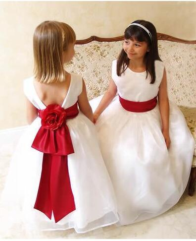 eb1584c478ed 2017 White Cheap Girls Dresses Special Occasion Jewel Red Ribbon Waist  Organza Flower Girl Dress For Weddings Kids Formal Wear