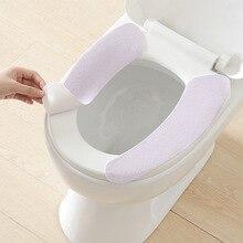 39 CM tipo de adhesivo inodoro cubierta caliente lavable pegajosa estera de aseo cubierta de asiento del inodoro de hogar reutilizable suave asiento de inodoro cubierta asiento fundas de tapa de inodoro