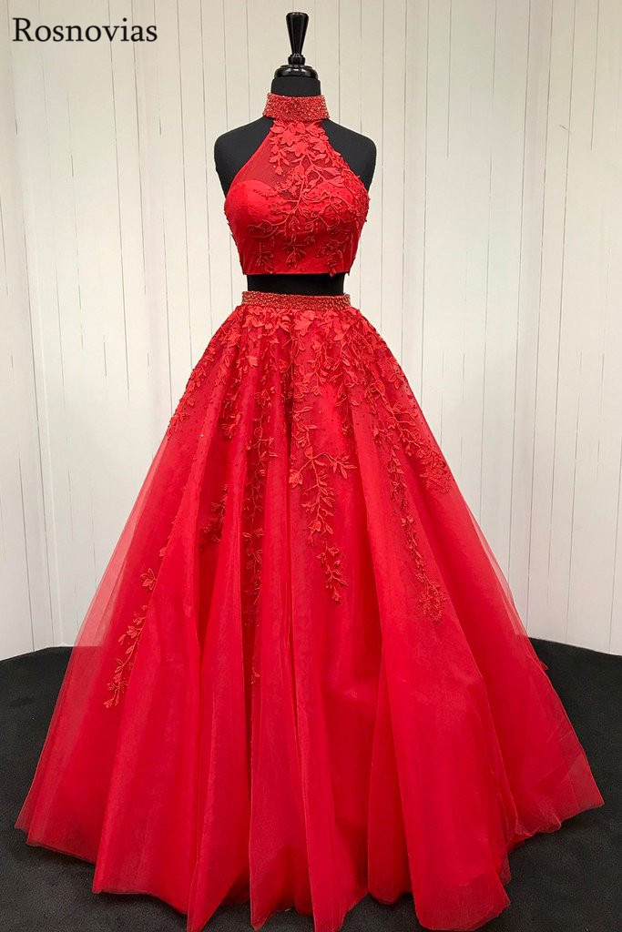 Red Two Pieces   Dress   Long   Prom     Dresses   2019 High Neck Backless Sweep Train Appliques Beaded Evening Party   Dresses   Formal Gowns