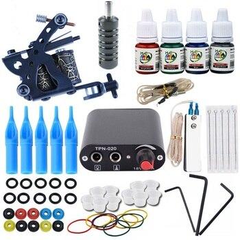 цена на Glitter Tattoo Starter Kit Tattoo Gun Machines Ink Grips Needles Tips Power Supply Beginner Rotary Tattoo Machine Kits Supplies