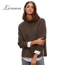 Lemon 2018 Khaki Autumn Fashion Sweater Women Preppy Split Thick Slim Jumper Sweet Turn-down Collar Long Sleeve Lady Sweater
