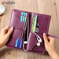 Ultrathin Genuine Leather Women Wallets Soft Cowhide Long Lady Purse Wallet Female Card Holders Phone Coin Pocket Wallet Women