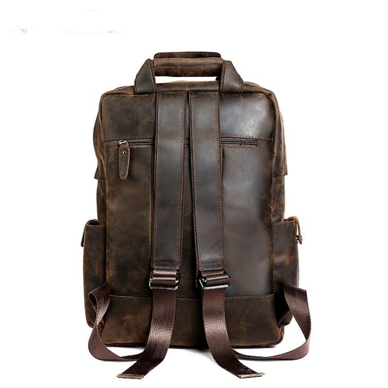 2019 новый мужской Ретро Простой поп Crazy Horse кожаный рюкзак первый слой из воловьей кожи Модная Сумка для колледжа прочная кожаная дорожная су... - 3