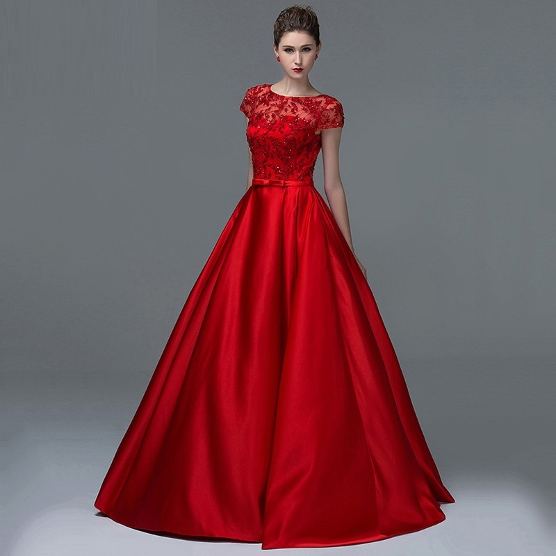 Vestidos De Novia 2015 New Hot Fashion Scoop Elegant Red