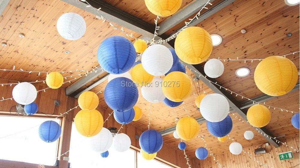 18pcsset Royal Blue Yellow White Round Paper Lantern Lamp Shades