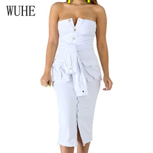 купить WUHE White Off Shoulder Strapless Bodycon Bandage Pencil Dresses with Button Sexy Hollow Out Sleeveless Dress Summer Slim Dress по цене 1339.1 рублей