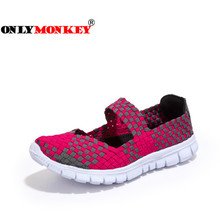 ONLYMONKEY Spring Autumn Wanita Flat Shoes Slip-on Flats Dangkal Sneakers Wanita Cahaya & Bernapas Musim Panas Keren Sneakers Wanita