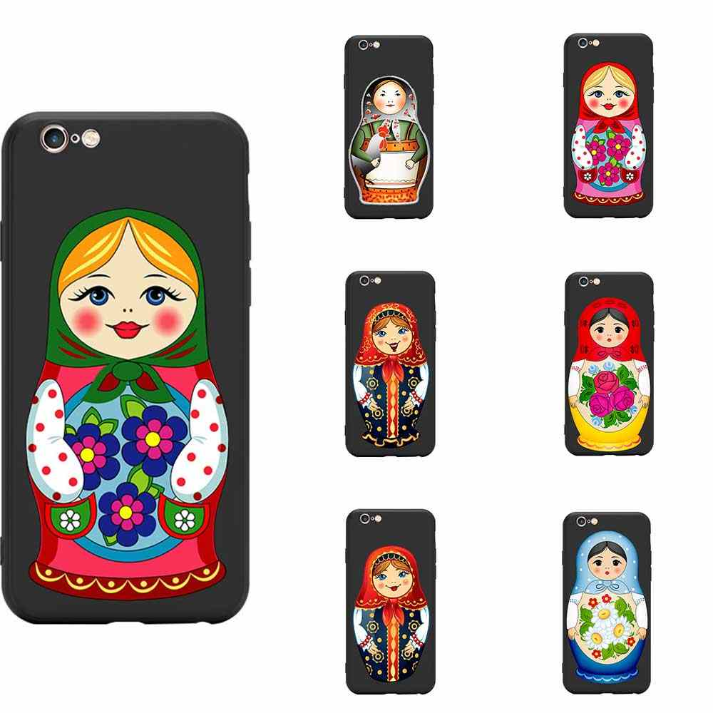 Indah Matryoshka Doll Rusia Bersarang Boneka Tema TPU Ponsel Case untuk Iphone 6 7 8 S XR X Ditambah 11 pro Max Collection 5