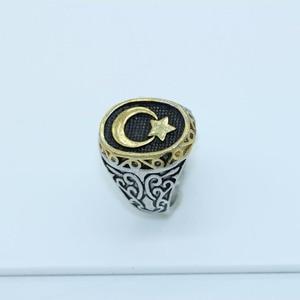 Image 2 - Nova chegada anel venda quente muçulmanos clássico lua e estrela requintado masculino anel tamanho 8,9, 10,11