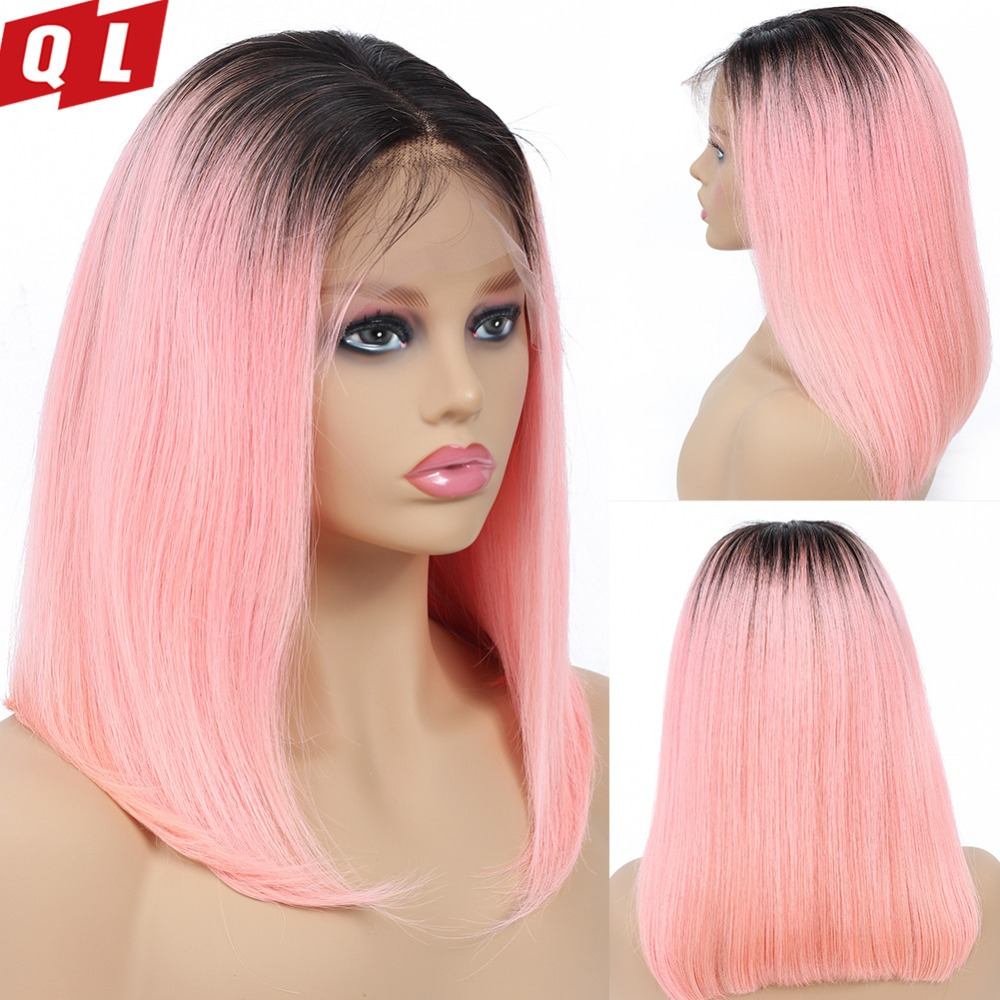 QLOVE Hair Bob Wigs Straight Lace Front Wigs With Baby Hair Ombre Brazilian Lace Frontal Human
