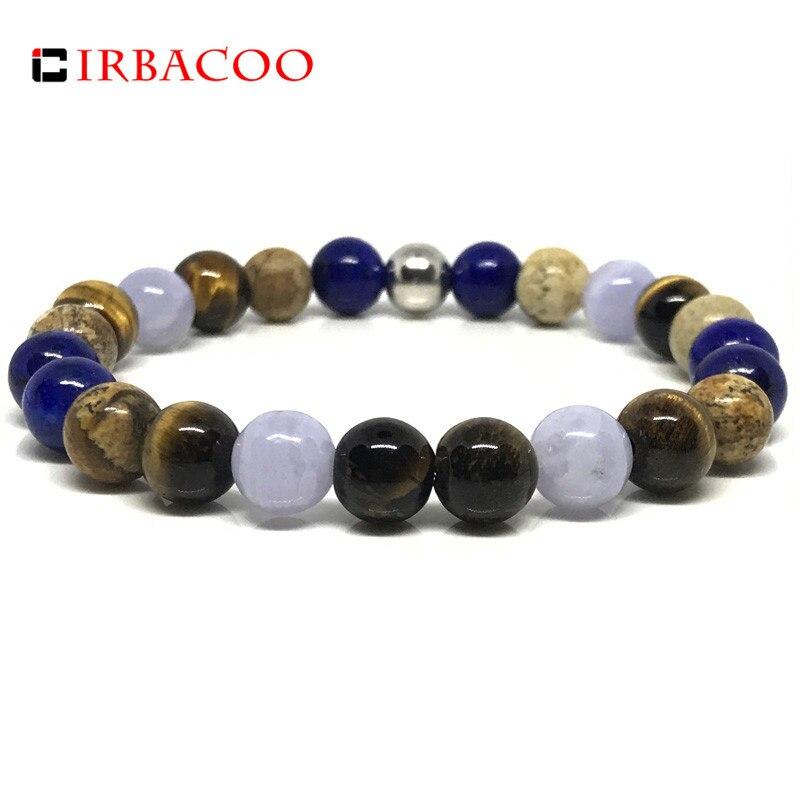 IRBACOO 2018 Trendy Luxury Mens Bracelet with Aquamarine, Tiger Eye, Matte Onyx, Blue Lapis, Picture Stone, and Jasper
