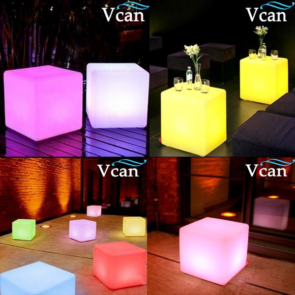 2016 Hot Sale Multi-Function 40cm Christmas Lighting Cube Stool Glowing Side Table for bar or club hot sale c shaped waterfall acrylic occasional side table
