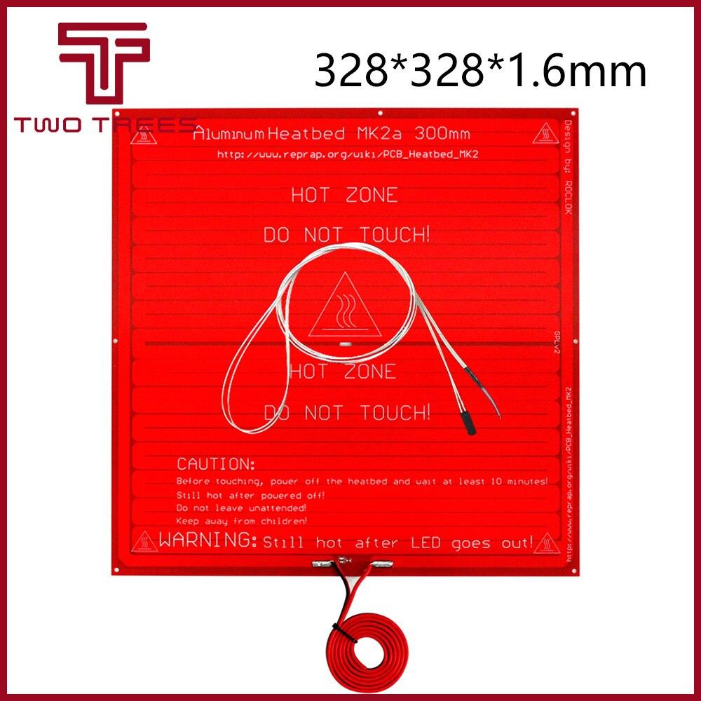 MK2A 300*300*1.6mm RepRap RAMPS 1.4 PCB Heatbed+LED Resistor + Cable + Thermistors For & Mendel For 3D Printer MK2B 328*328*1.6