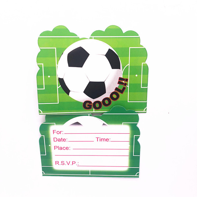 10pcs Football Theme Party Paper Invitation Card Birthday Party