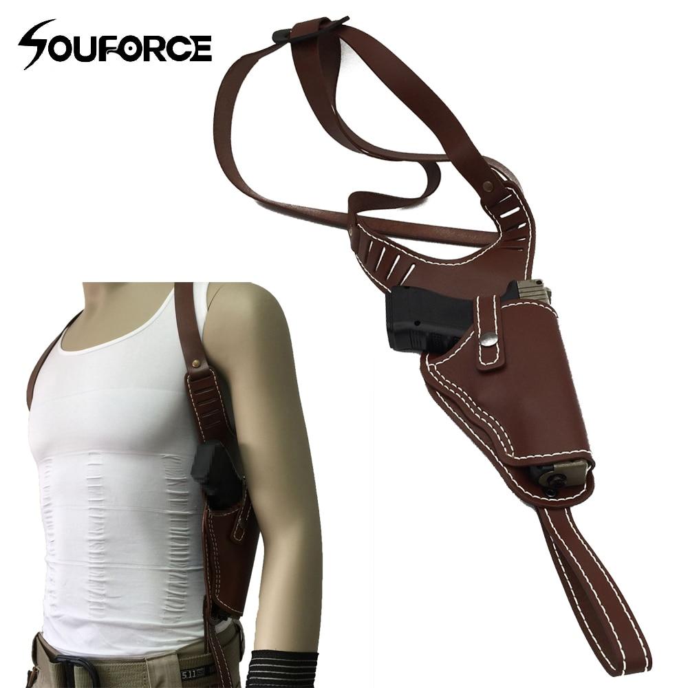 New Airsoft Vertical Genuine Leather Shoulder Holster Right Hand Gun Holster Fits Frame Auto Handguns Cowhide Gun Bag