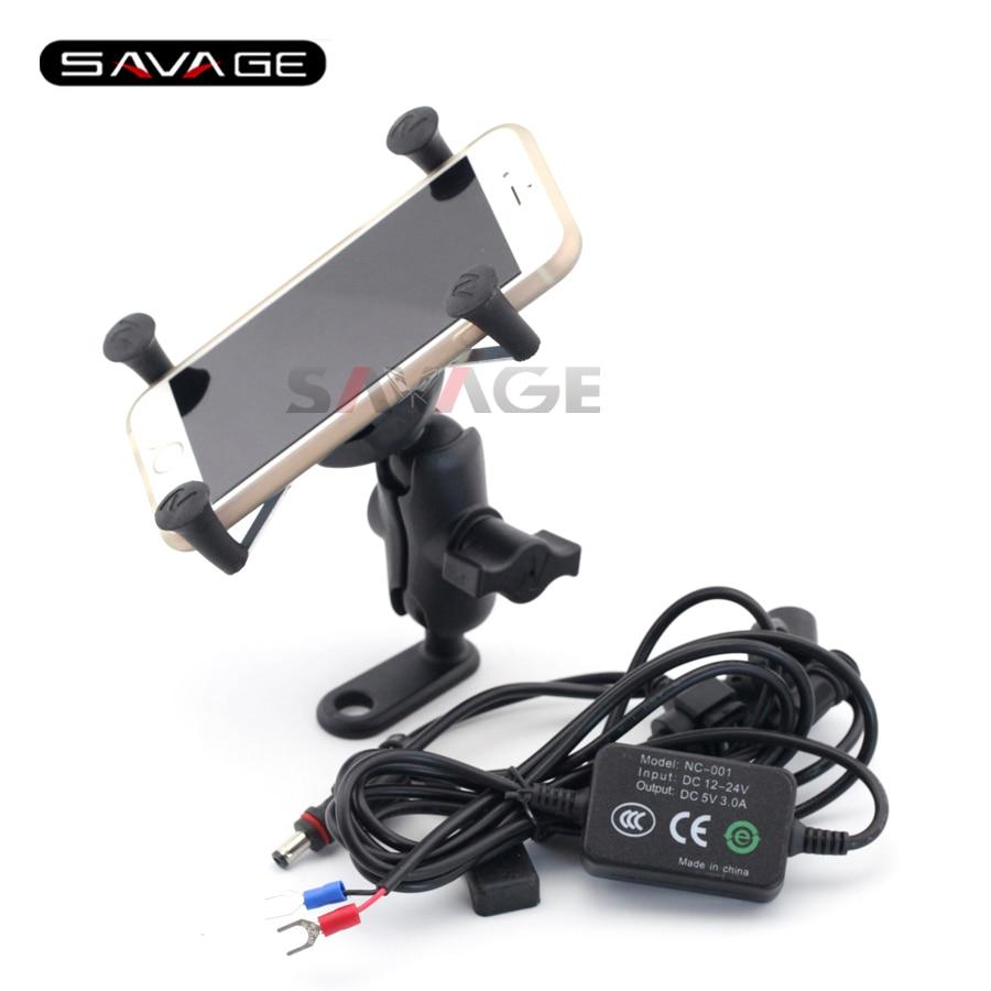 For SUZUKI DL650 V-STROM DL1000 GSX1300 B-KING Motorcycle Navigation Frame Mobile Phone Mount Bracket with USB charger
