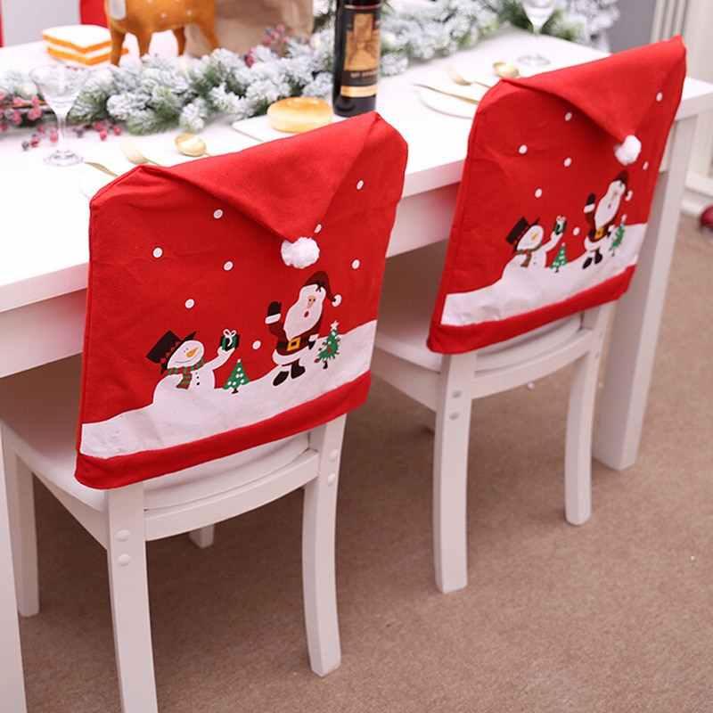 חדש נשלף סנטה אדום כובע כיסא מכסה חג המולד קישוטי כיסא ארוחת ערב חג המולד כובע סטי מתקפל מלון כיסא כיסוי עבור בית