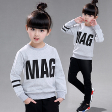 Female child long-sleeve sweatshirt set 2016 casual letter sports long-sleeve top trousers twinset