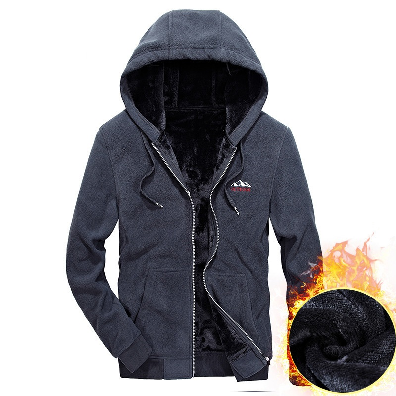 New Autumn Winter Fleece Jacket Men Casual Loose Hooded Coat Men Windbreaker Warm Mens Hoodies Jackets S-XXXL Thick Outwear Men