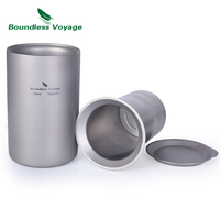 Boundless Voyage Titanium Double wall Cup with Filter Outdoor Camping Portable Coffee Tea Mug Set 350ml