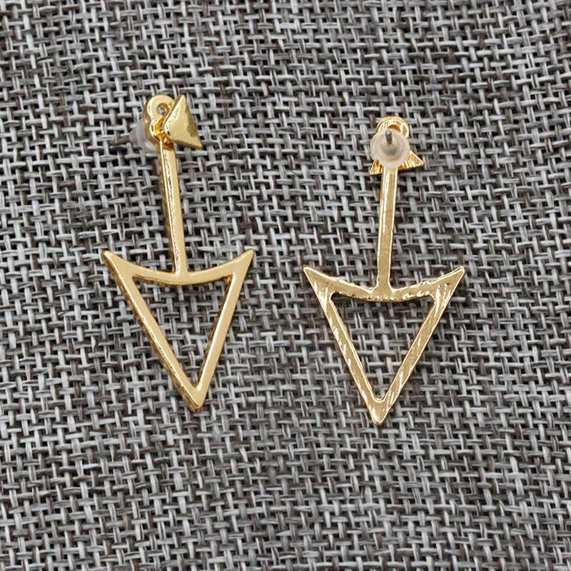 צבע זהב כסף עגילים משולש לנשים כפולות אמירה חלולה קסם עגיל אופנה אביזרי תכשיטי Pendientes