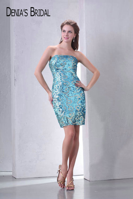 Sequin Cocktail Dress Real Photos Strapless Sequin Lace Mini Cocktail Dresses Sleeveless Straight  Short Prom Gowns