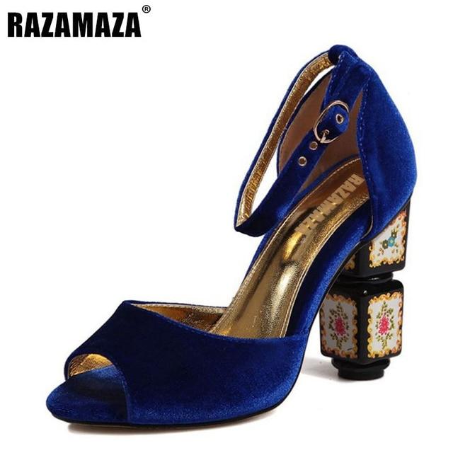 RAZAMAZA Women Thick Heel Sandalen Schuhe