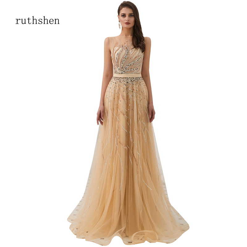 ruthshen Prom dresses 2019 aline Long Rhinestone Sexy see-through Pageant Dresses Prom Party Prom Gown robe de soiree