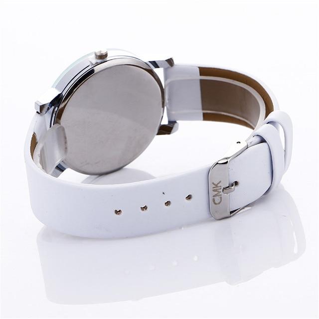 Women Men Watch Fashion PU Leather Stylish Casual Cat Pattern Leather Buckle Bracelet Lady Womans Wrist Watch