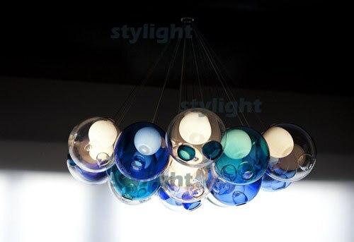 glazen bal hanglampen diameter 10 cm 39 heads lamp kroonluchter van kleurrijke glazen bollen moderen lamp in glazen bal hanglampen diameter 10 cm