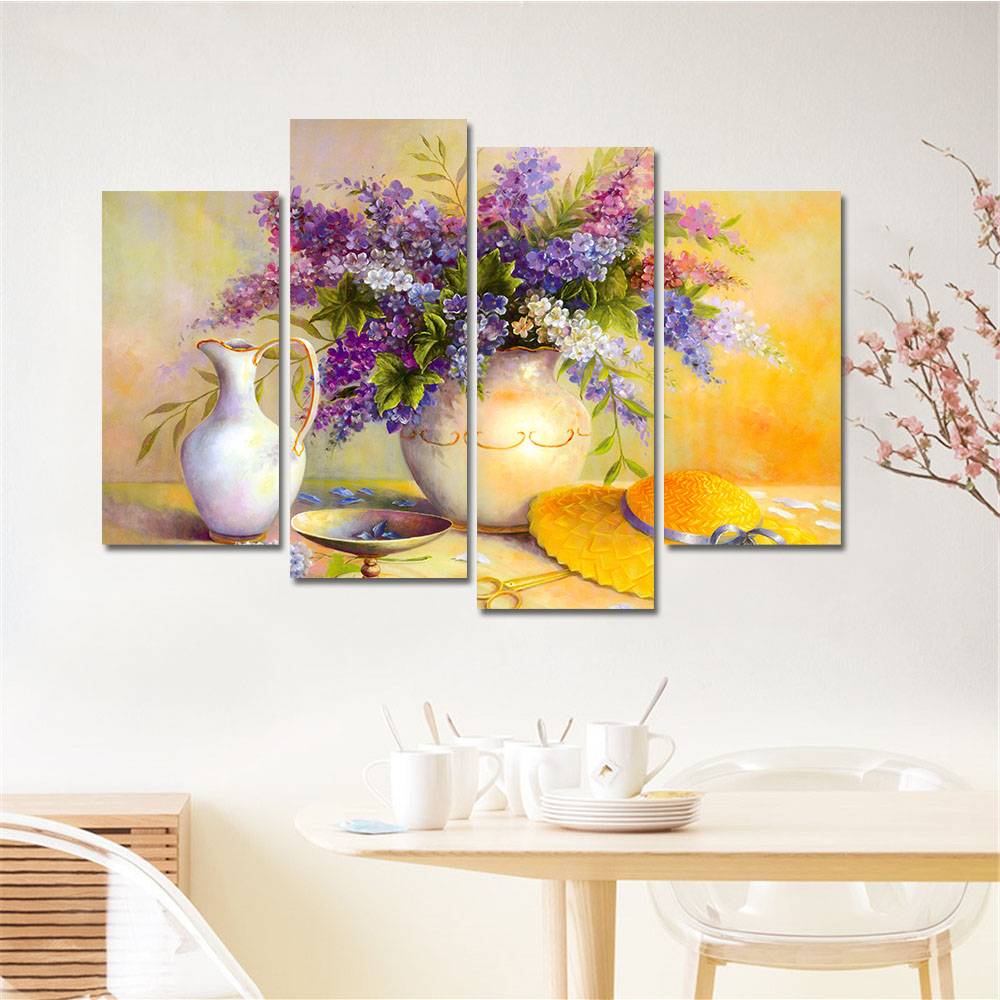 New Sale Drop-shipping Frameless Modular Pictures Flower Painting Print On Canvas Wall Art Home Decor For Living Room Best Gift