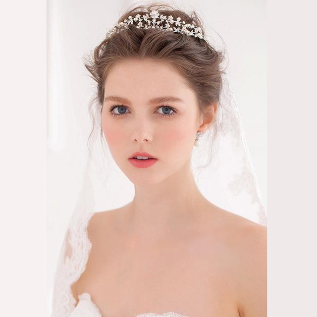 Princesa de Prata Liga Coroa de Pérolas de Cristal Do Cabelo Acessórios de Casamento de Imagem Real Frete Grátis Em Estoque Barato Nupcial Headpiece