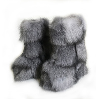 Micholediys 2018 New Arrival Handmade Winter Fox Fur Blue Snow Boots Eskimo Botas Antiskid Warm Increased Thick Soles Shoes