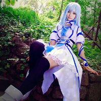 anime Sword Art Online SAO Yuuki Asuna cosplay costumes Blue Dress Water Fairy