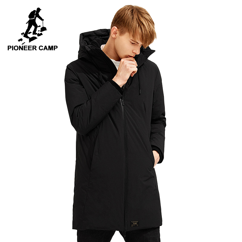 Pioneer Camp long winter thicken down jacket men brand clothing hooded white duck down parka warm down coat male black AYR701387