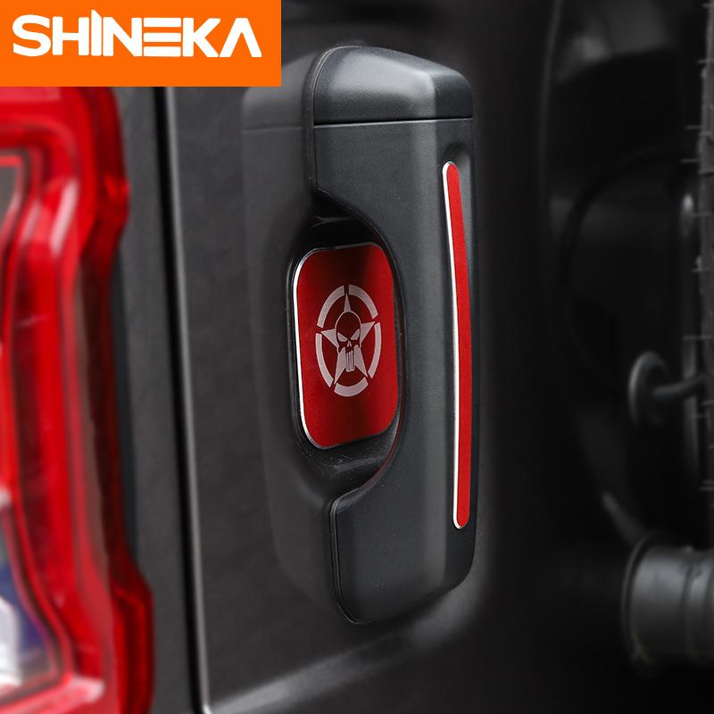 SHINEKA 5PCS Aluminum Alloy Car Door Tail Door Handle Outer Door Bowl Sticker For Jeep Wrangler JL Accessories 2018 4 Door in Car Stickers from Automobiles Motorcycles