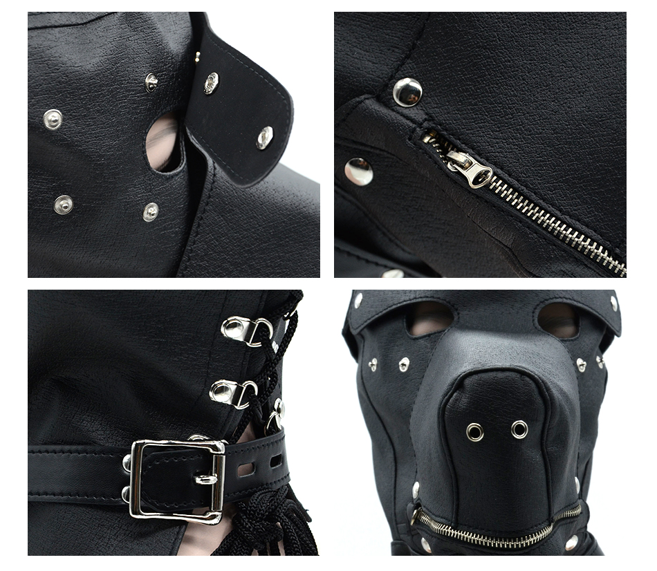 Fetish PU Leather SM Hood Dog Mask Head Harness Sex Slave Collar Leash Mouth Gag BDSM Bondage Blindfold Sex Toys For Couple 8