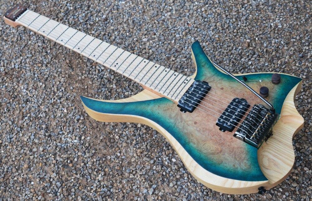 7 corde Chitarra Elettrica Senza Testa di stile blu burst spalted curly maple top in acero Fiamma Collo in azione libera di trasporto