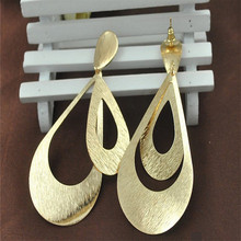Fashion Rock Punk Leaf Round Ladies Exaggerated Jewelry Women Water Drop Golden Dangle Earrings
