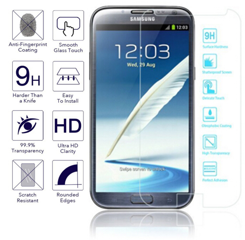 Tempered Glass For Samsung Galaxy Note 2 II N7100 / LTE N7105 Screen Protector Glass Film For GALAXY Note 2 Cristal Templado