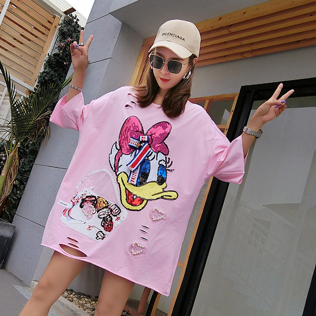 53e8d8d4c44f European station 2018 summer new Donald Duck cartoon sequins pattern fat mm  large size ladies T shirt short sleeve 4 colors