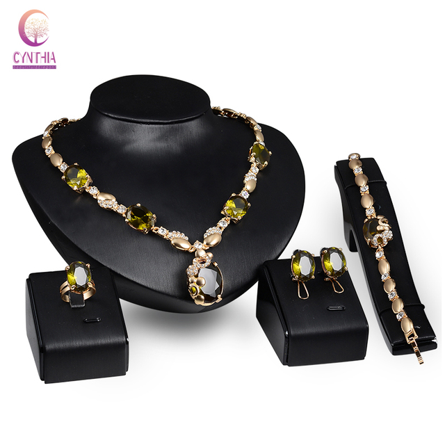 African Beads Jewelry Set Gold Plated Green/Purple Zircon Crystal Women Wedding Necklace Bracelet Earring Ring Party Set