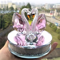 1 Pair Crystal Swan Figurines Paperweight Feng Shui Crafts Figurine Art Collection For Home Wedding Decor Festival Gift