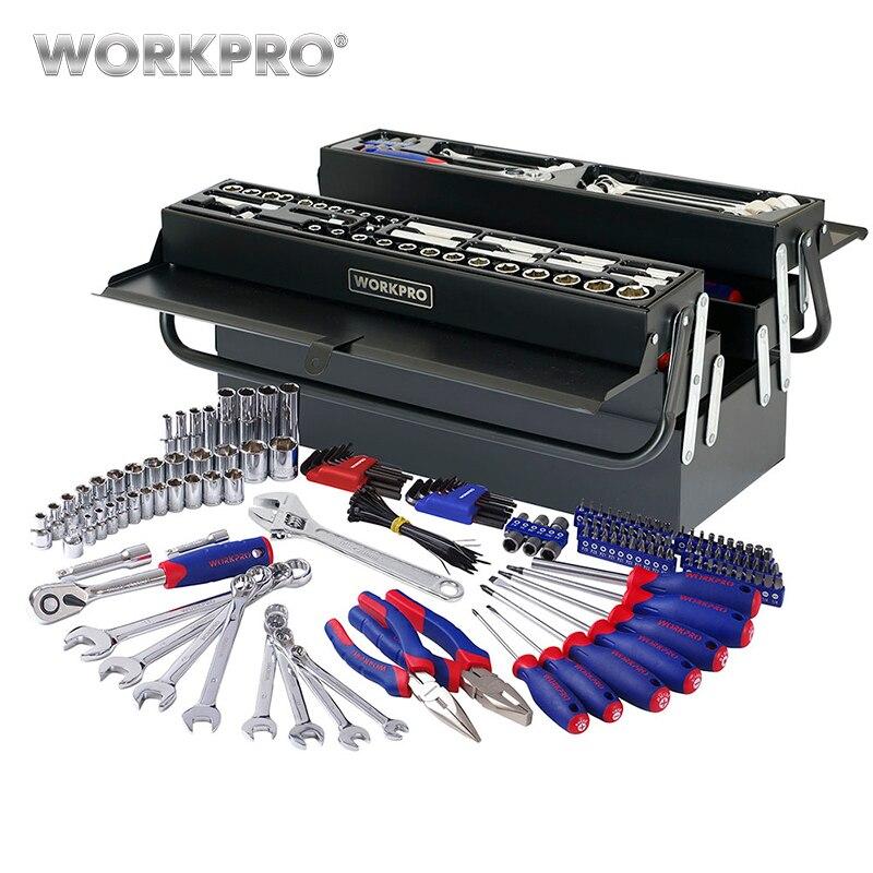 WORKPRO 183 pz Strumento Set di Strumenti Per La Casa In Metallo Tool Box Set Kit di Strumenti di Riparazione Set di Cacciaviti Set Presa