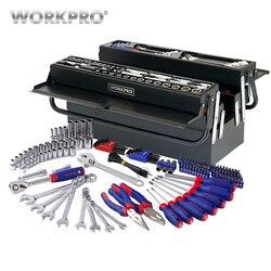 Workpro 183 pc conjunto de ferramentas para casa caixa de ferramentas de metal conjunto de kits de ferramentas de reparo chave de fenda conjunto soquete
