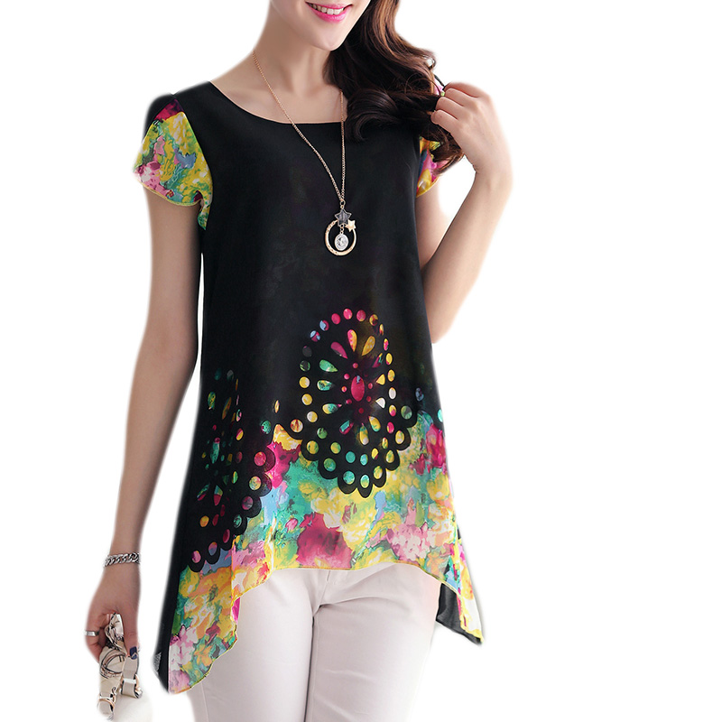 3b9adb47ad1 2019 Korean Fashion Women Chiffon Blouse Short Sleeve Elegant Floral Print  Ladies Casual Shirt Women Tops Plus Size Blusas XXXL-in Blouses   Shirts  from ...