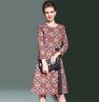 R H Female Belt Knee Length O Neck Long Sleeve High Quality Vintage Print Winter Spring