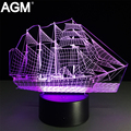 Sailboat Acrylic 3D Lamp Touch Table lampe 7 Colors Changing 3D Desk Light Visual Sleeping LED Lamp Novelty USB LED Night Light