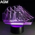 Veleiro 3D Acrílico Candeeiro de Mesa de Toque lampe Mudança de 7 Cores 3D mesa de luz visual dormir lâmpada led novelty usb luz da noite levou