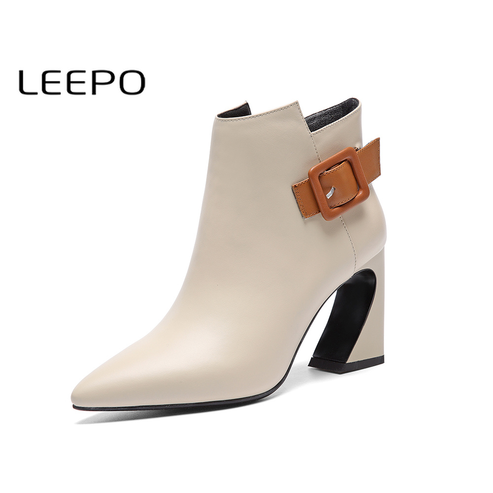 LEEPO Ankle Boots for Women Women's Winter Shoes Genuine Leather High Quality Warm Pointed Toe Off White Booties Ladies Boots